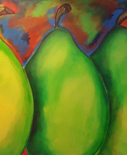 One of the original pieces of art in the building features green pears