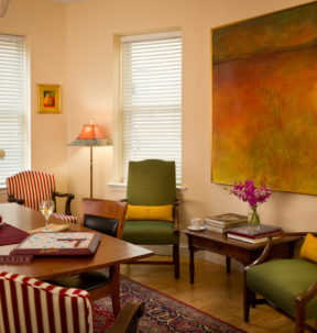 The common areas have several areas for working, reading, or relaxation.